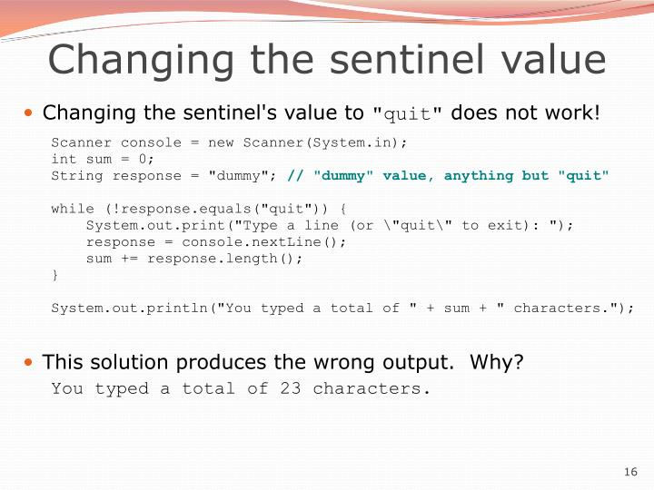 Changing the sentinel value