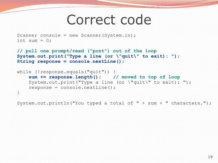 Correct code