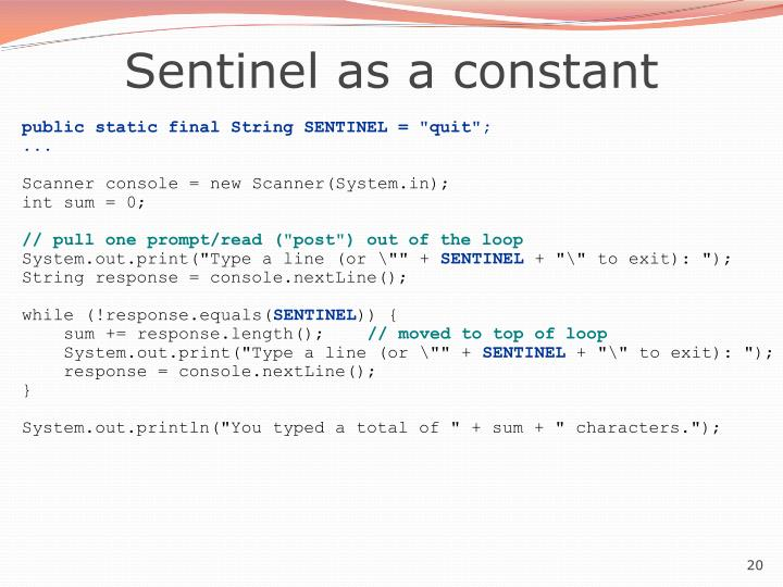 Sentinel as a constant