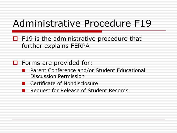 Administrative Procedure F19
