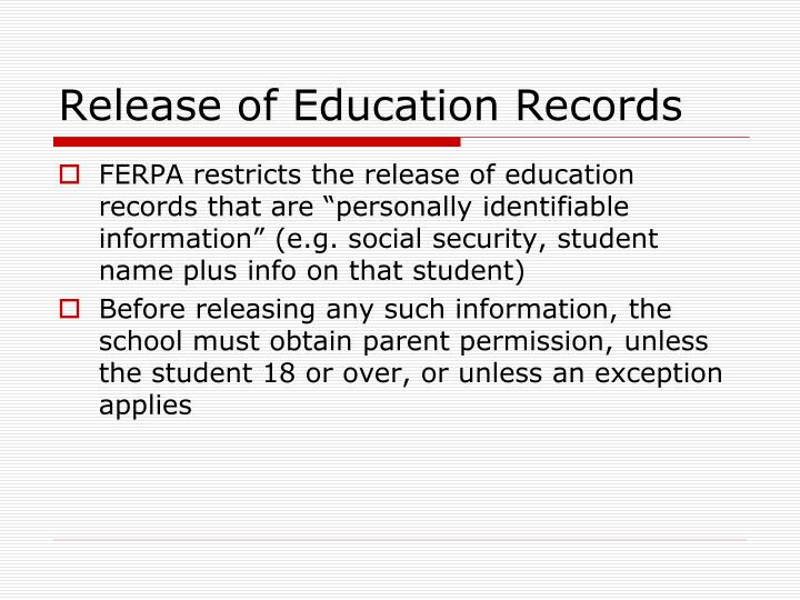 Release of Education Records
