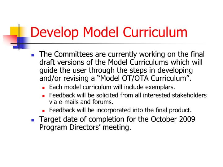 Develop Model Curriculum