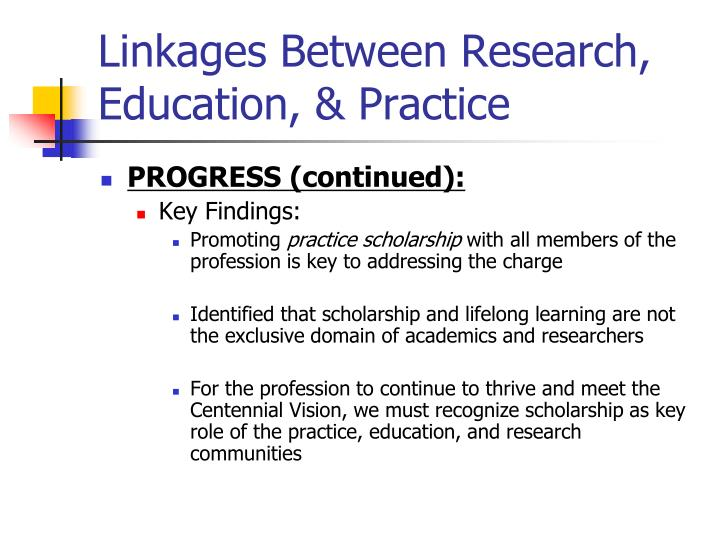 Linkages Between Research,