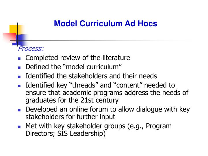 Model Curriculum Ad Hocs