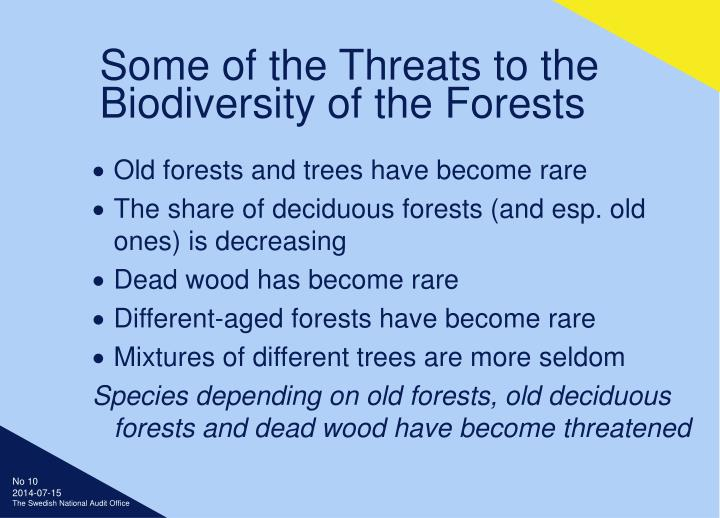Some of the Threats to the Biodiversity of the Forests