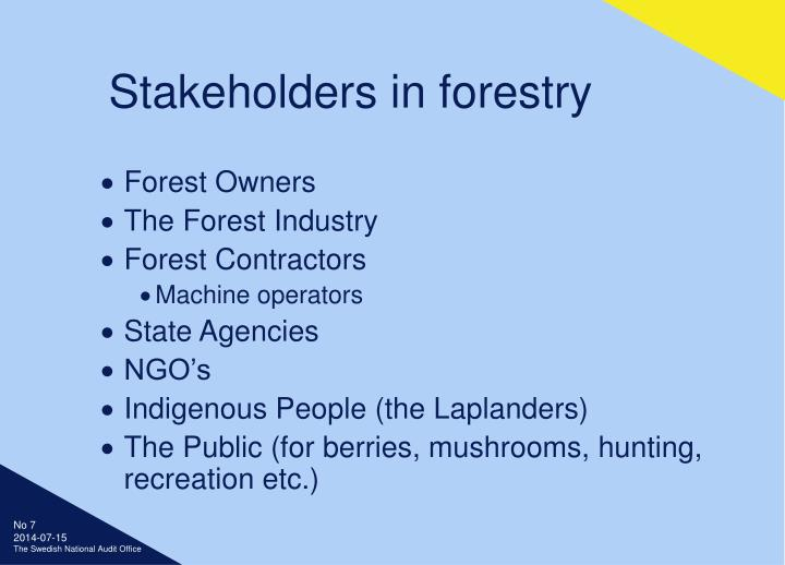 Stakeholders in forestry