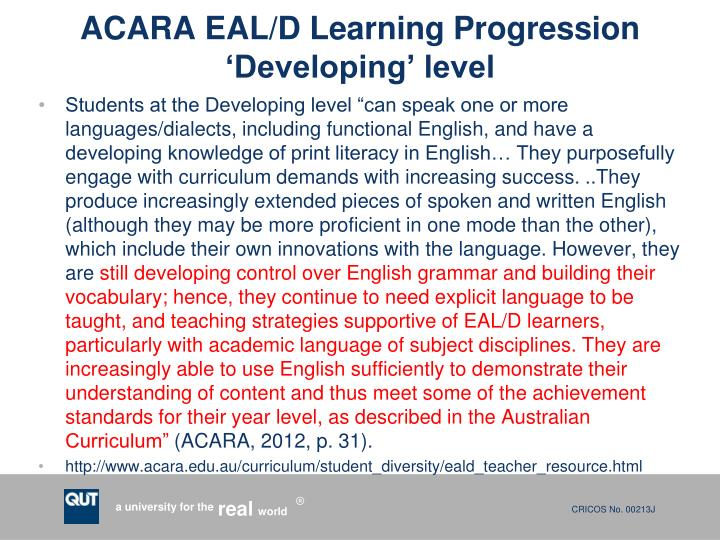 ACARA EAL/D Learning Progression