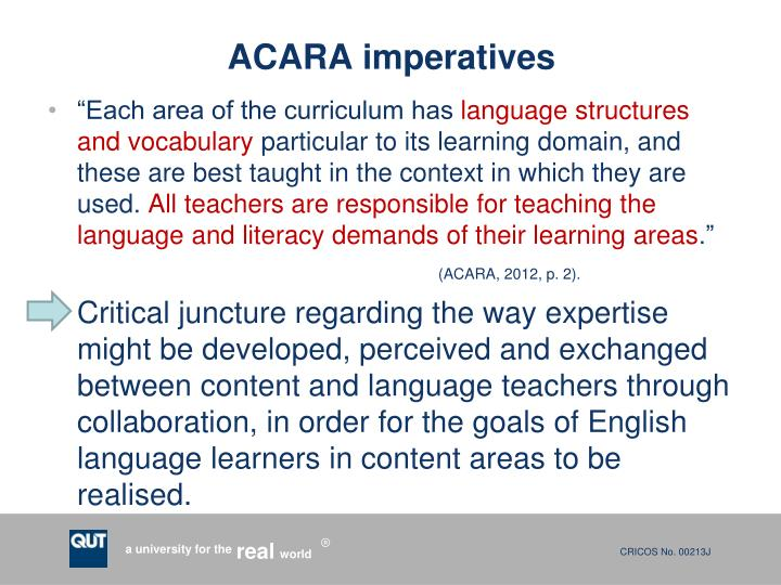 ACARA imperatives