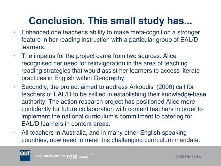 Conclusion. This small study has...