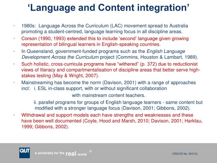 'Language and Content integration'