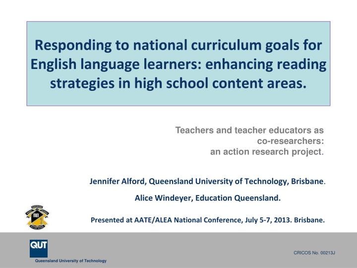 Responding to national curriculum goals for English language learners: enhancing reading strategies in high school content areas.