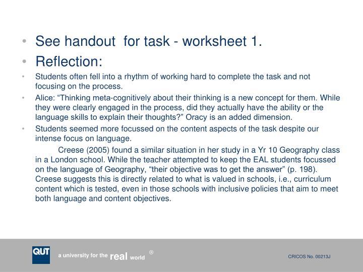 See handout  for task - worksheet 1.