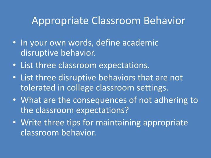 Classroom Behavior Essay