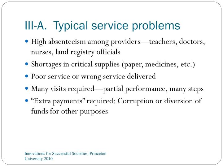 III-A.  Typical service problems