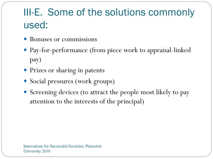 III-E.  Some of the solutions commonly used: