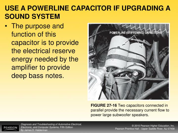 USE A POWERLINE CAPACITOR IF UPGRADING A SOUND SYSTEM