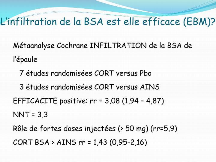 L'infiltration de la BSA est elle efficace (EBM)?