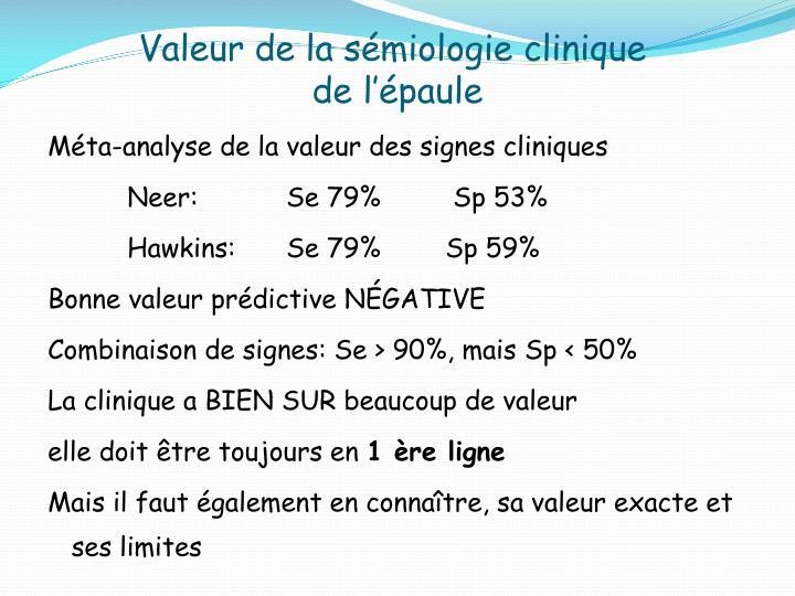 Valeur de la sémiologie clinique