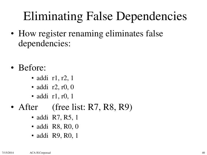 Eliminating False Dependencies