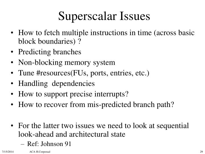 Superscalar Issues