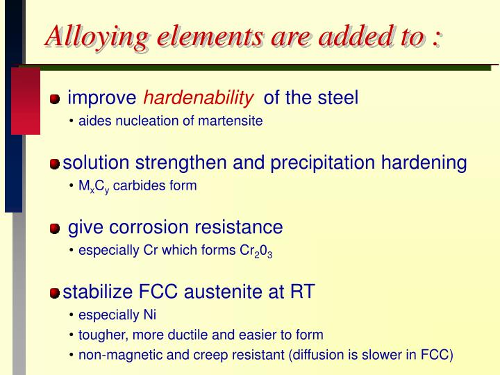 Alloying elements are added to :