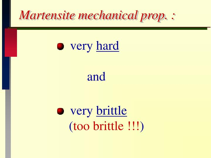 Martensite mechanical prop. :