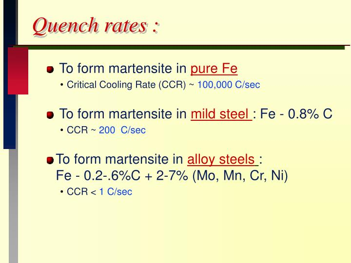Quench rates :