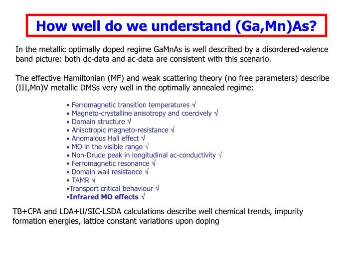 How well do we understand (Ga,Mn)As?