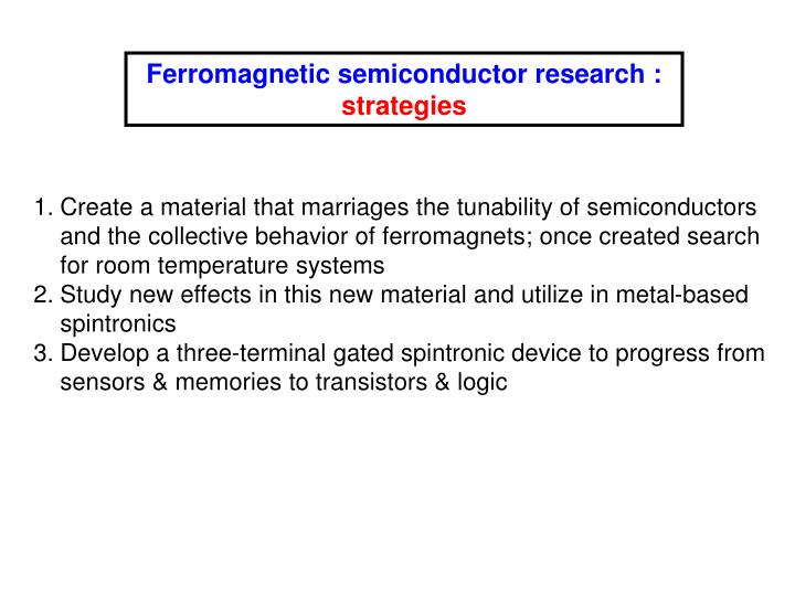 Ferromagnetic semiconductor research :