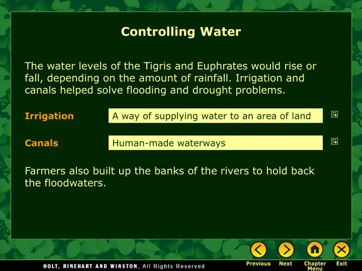 Controlling Water