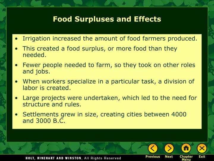 Irrigation increased the amount of food farmers produced.