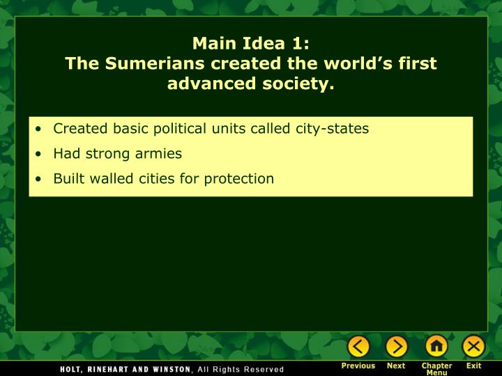 Created basic political units called city-states