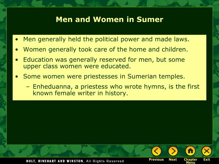 Men generally held the political power and made laws.