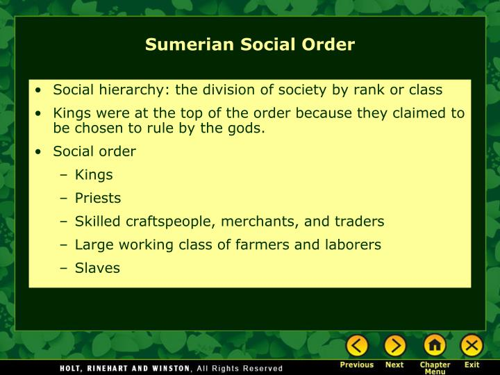 Social hierarchy: the division of society by rank or class