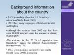 background information about the country