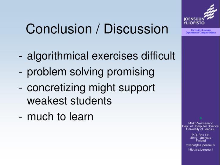 Conclusion / Discussion