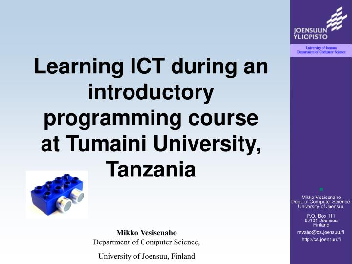 Learning ict during an introductory programming course at tumaini university tanzania