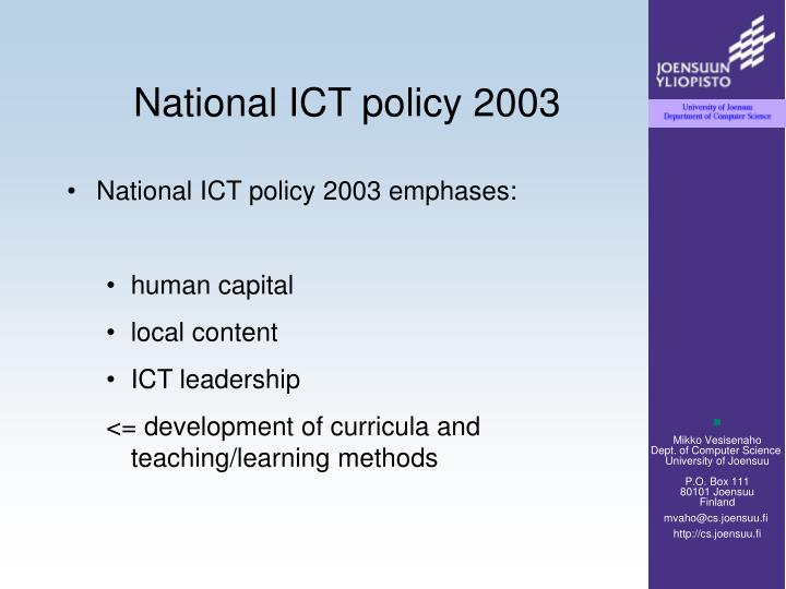 National ict policy 2003