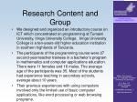 research content and group