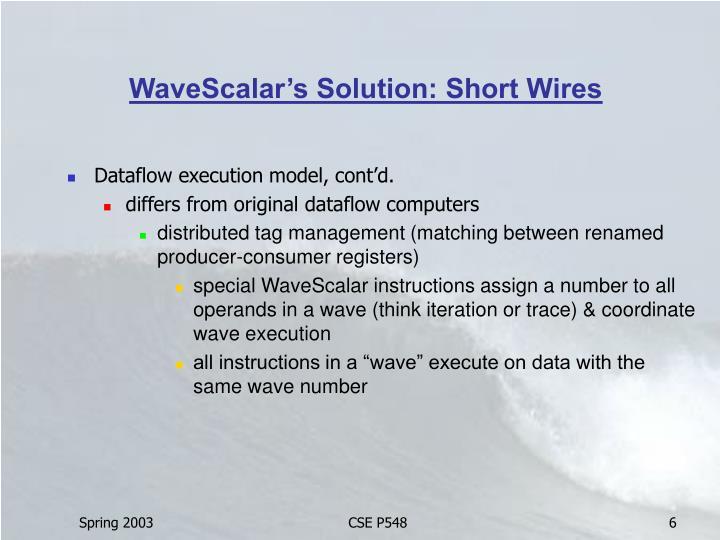 WaveScalar's Solution: Short Wires