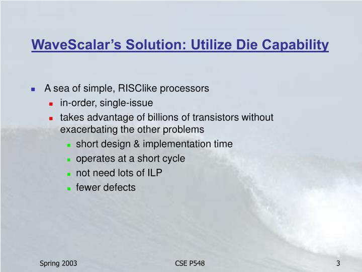 WaveScalar's Solution: Utilize Die Capability