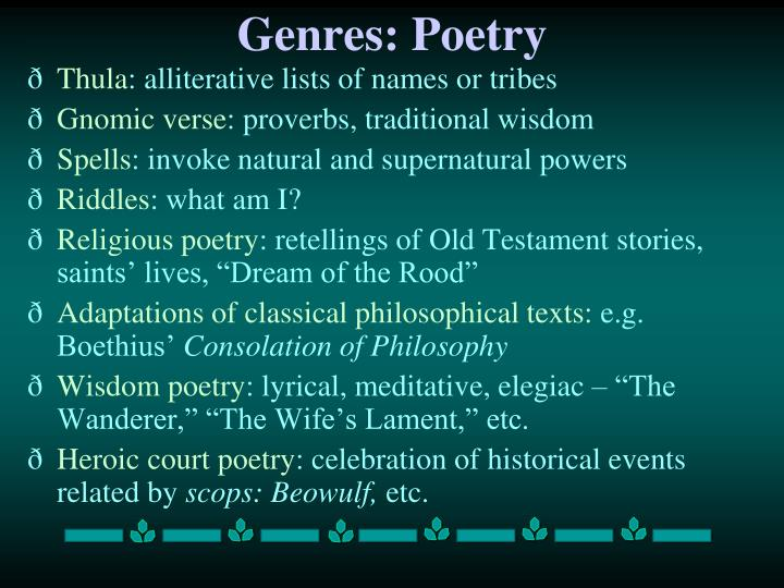 Genres: Poetry