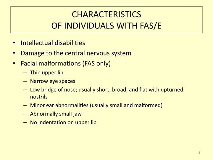 Characteristics of individuals with fas e