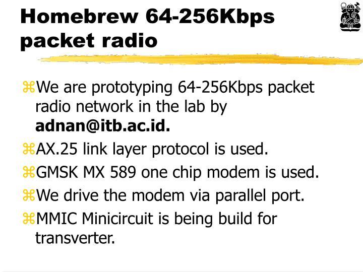 Homebrew 64-256Kbps packet radio