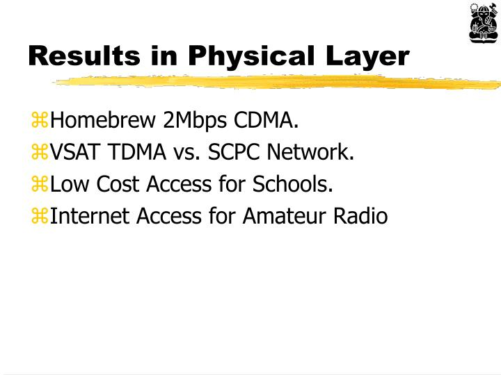 Results in Physical Layer