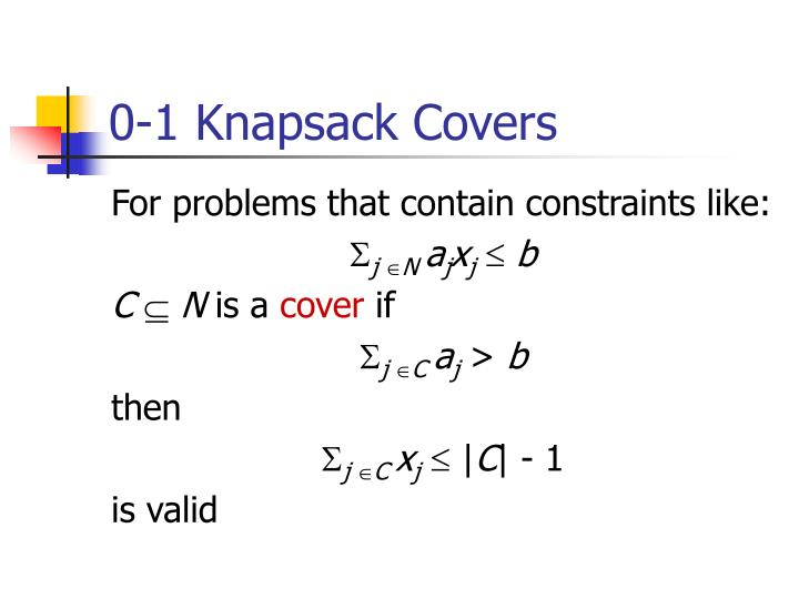0-1 Knapsack Covers