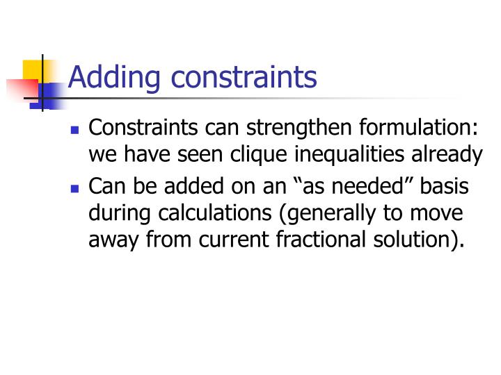 Adding constraints