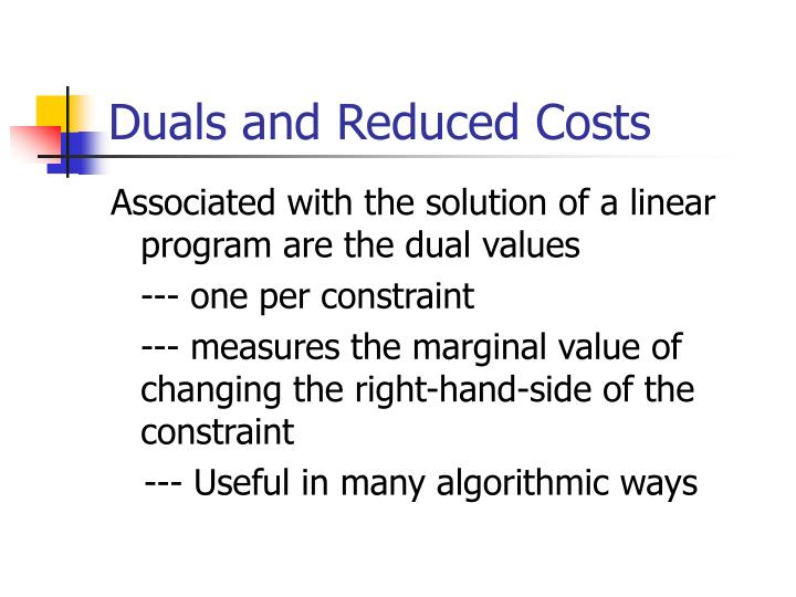 Duals and Reduced Costs