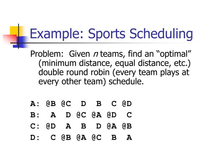 Example: Sports Scheduling