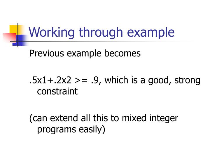 Working through example